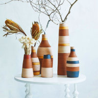 Set of vases with stripes